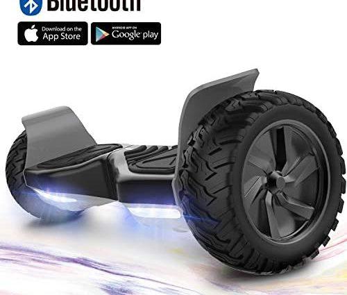 GeekMe Gyropode 8.5 Hover Scooter Board Overboard Pouces Scooter Electrique Tout Terrain Scooter Auto-équilibré Electrique avec Moteur Puissant LEDs Bluetooth APP pour Adultes et Enfants