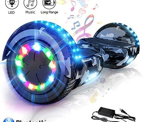 COLORWAY Overboard Hover Scooter Board Gyropode Bluetooth 6.5 Pouces, Scooter Electrique Moteur 700W, Self-Balance Board avec Roues LED Flash, E-Scooter Auto-équilibrage
