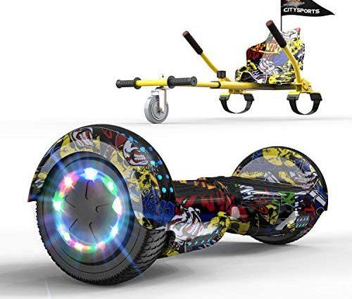 GeekMe Hoverboard Gyropode 6.5 Pouce avec hoverkart Scooter électrique Auto-équilibré Bluetooth Intégré Moteur pour Enfants et Adultes