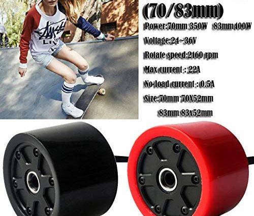 Gorgebuy Roues de Moteur de moyeu de Planche à roulettes - Kits de Roues de Moteur électrique sans Balai de Planche à roulettes électrique de 70 / 80mm - Roues de Moteur électrique pour Skateboard