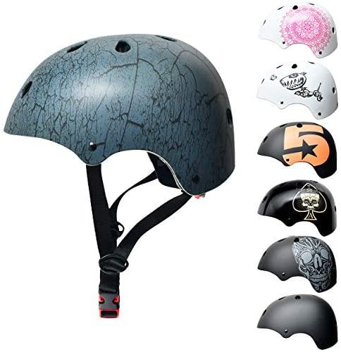 SkullCap® Enfants Skateboard & BMX Casque De Vélo -Dde 5 à 13 Ans - Taille S, Conception: Crack, Taille: S