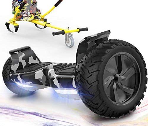 GeekMe Gyropode Auto-équilibré Scooter électrique 8,5 '' Tout Terrain avec Moteur Puissant Bluetooth&APP Intégré + Hoverkart Accessoire pour Gyropode Electrique